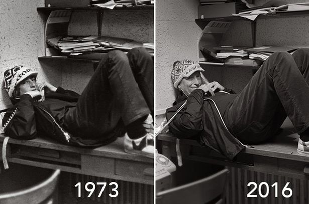 Bill Gates in 1973 and again in 2016. Bill Gates 43 yıl sonra aynı pozu verdi